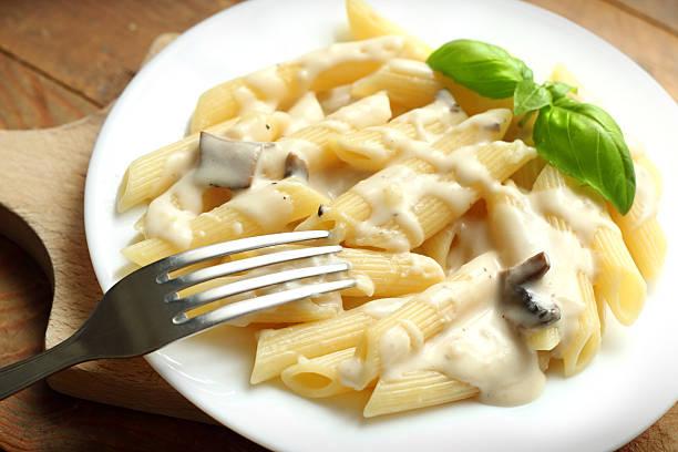 Pasta with mushrooms stock photo