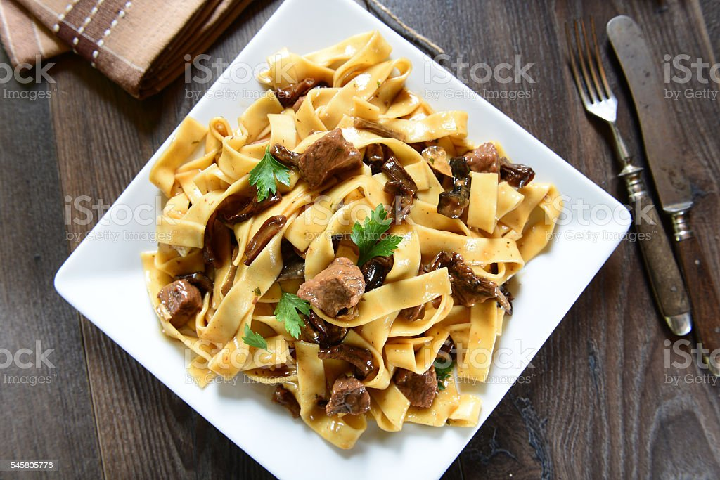 Pasta with mushrooms stock photo
