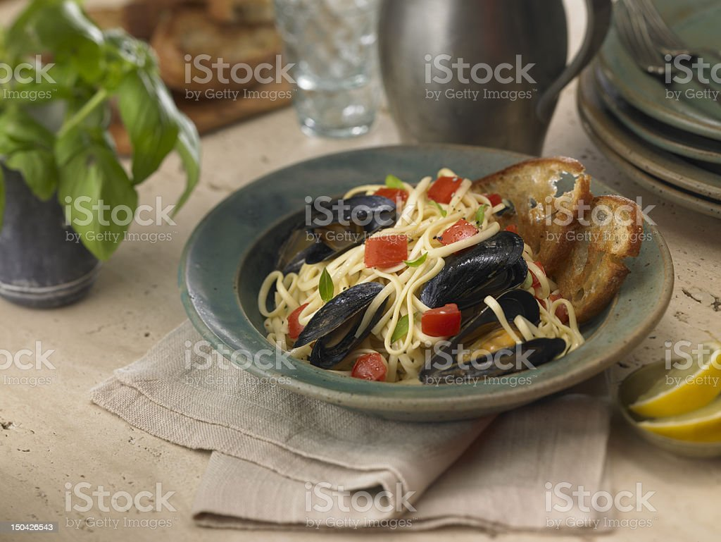 Pasta with Mussels royalty-free stock photo