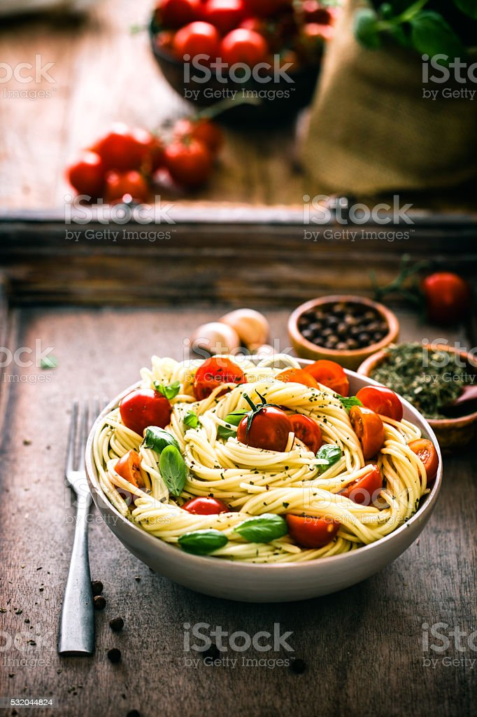 Pasta with olive oil stock photo