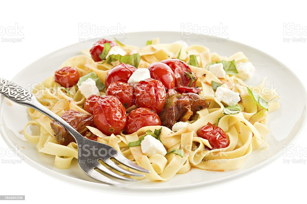 Pasta With Oven Roasted Tomatoes stock photo