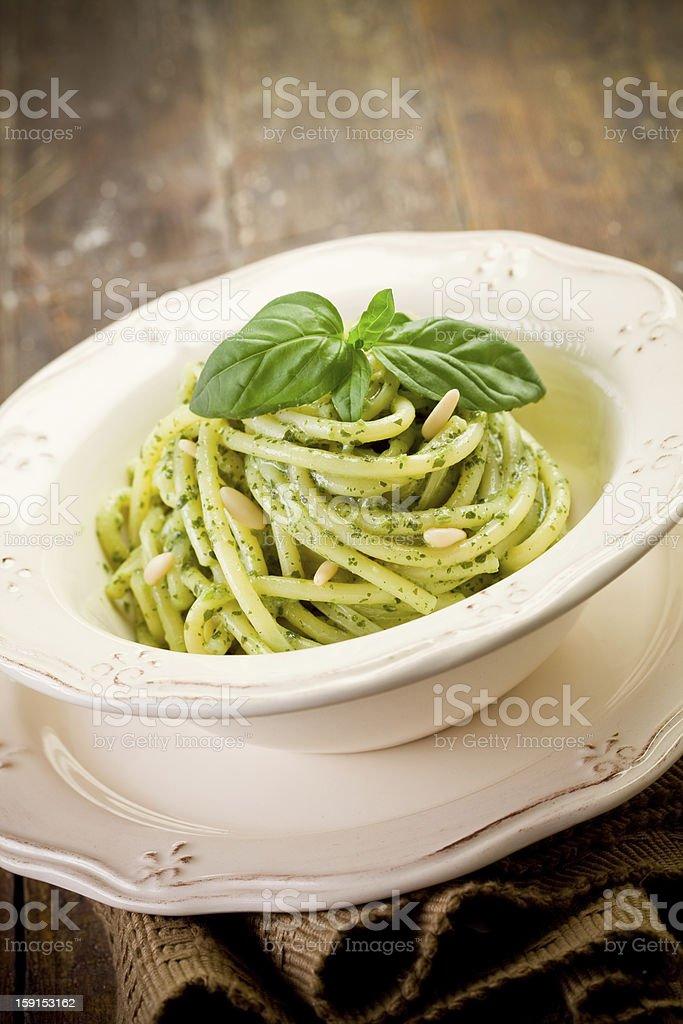 Pasta with pesto royalty-free stock photo