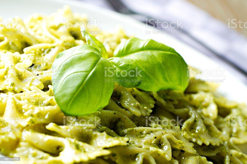Pasta with pesto sauce royalty-free stock photo