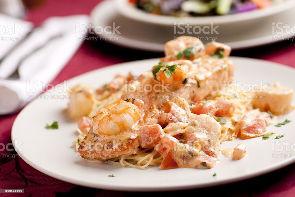 Pasta With Salmon Scallops And Shrimp Stock Photo More Pictures Of
