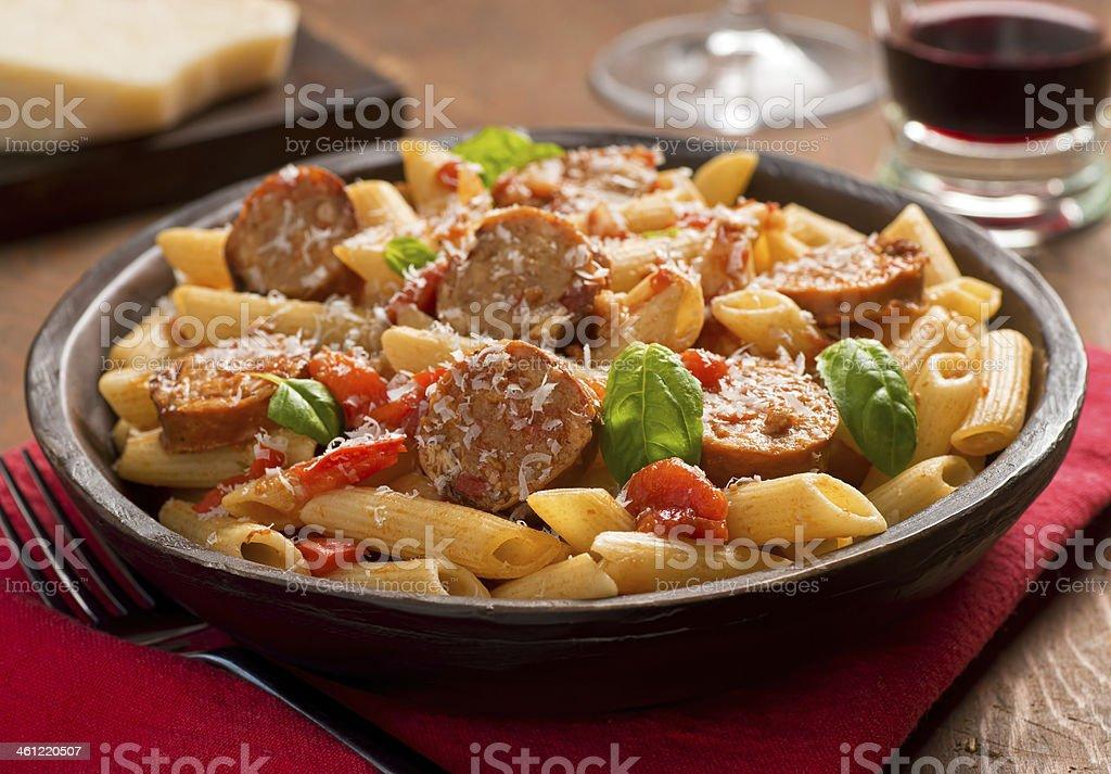 Pasta with Sausage stock photo
