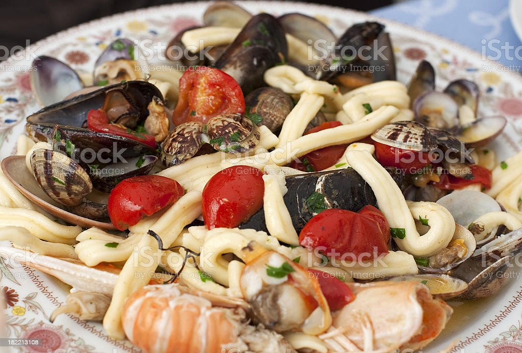 pasta with sea-food stock photo