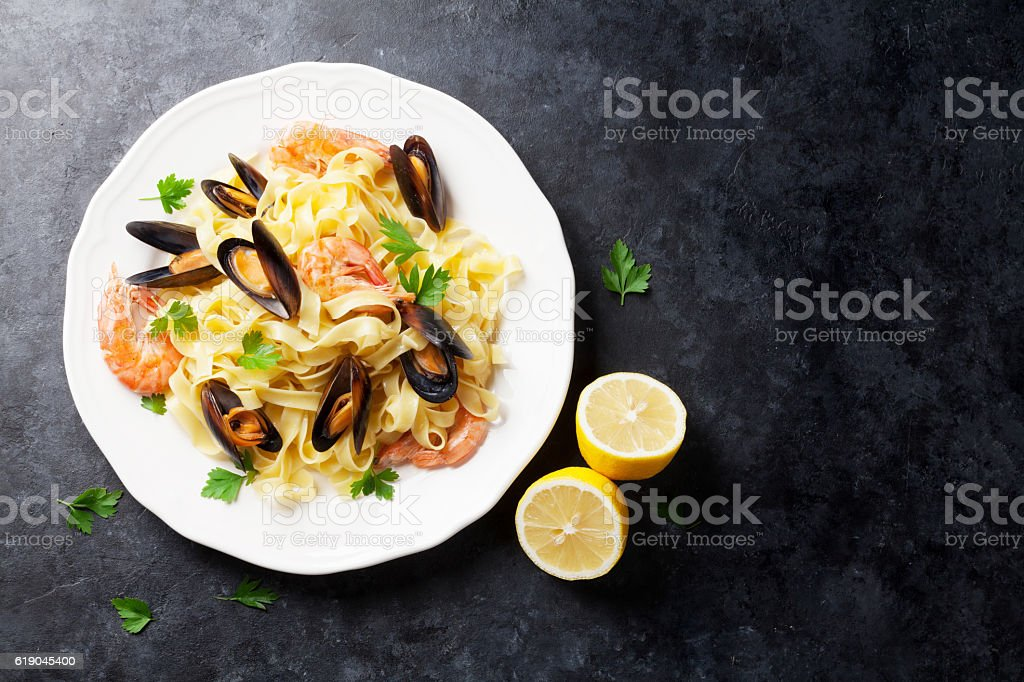 Pasta with seafood stock photo