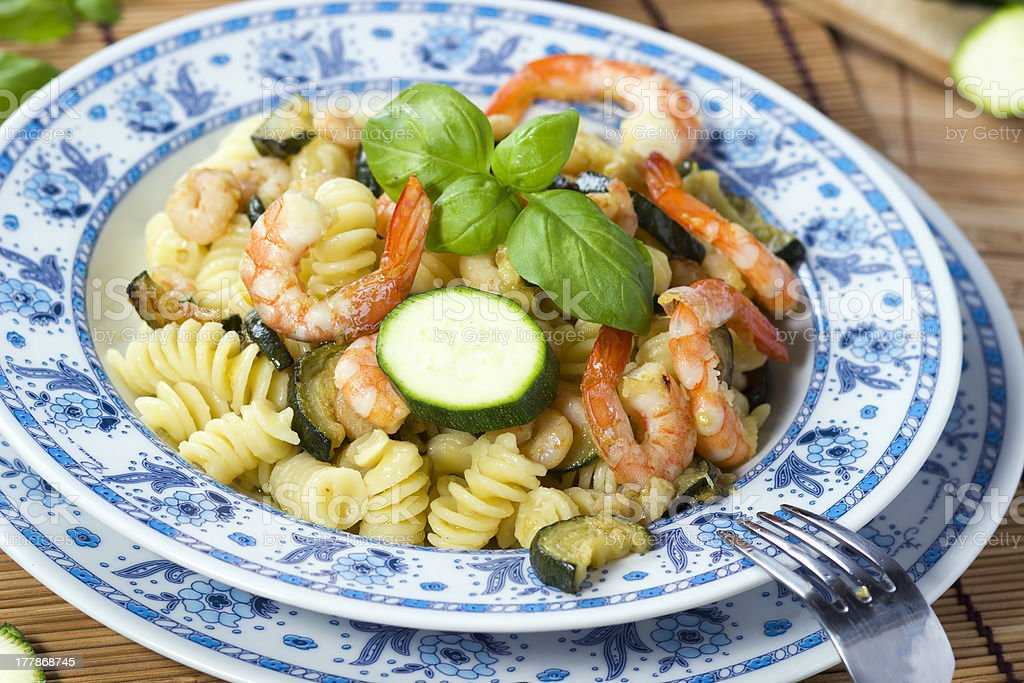 Pasta with  Shrimp and zucchini royalty-free stock photo