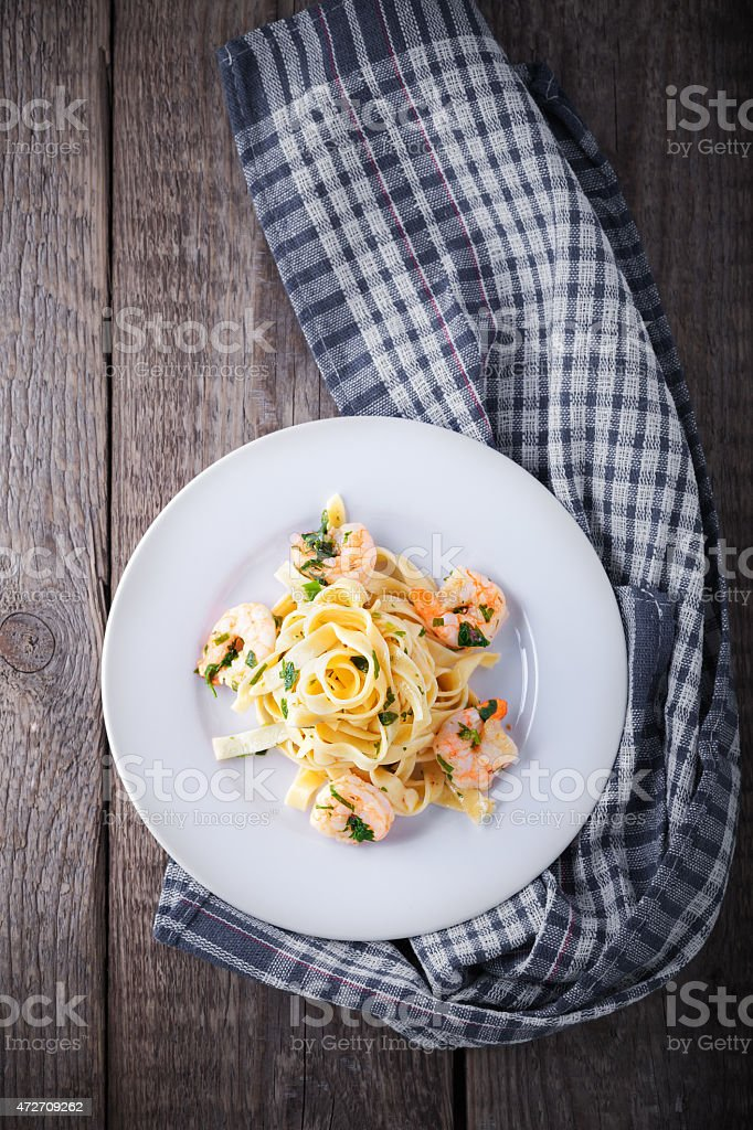 Pasta with shrimps stock photo