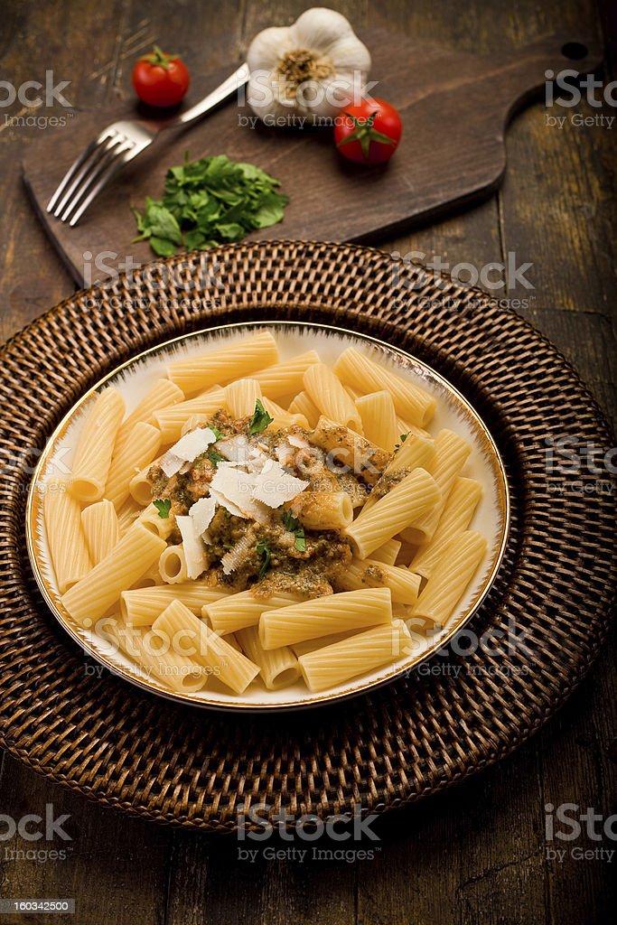 Pasta with Sicilian pesto royalty-free stock photo
