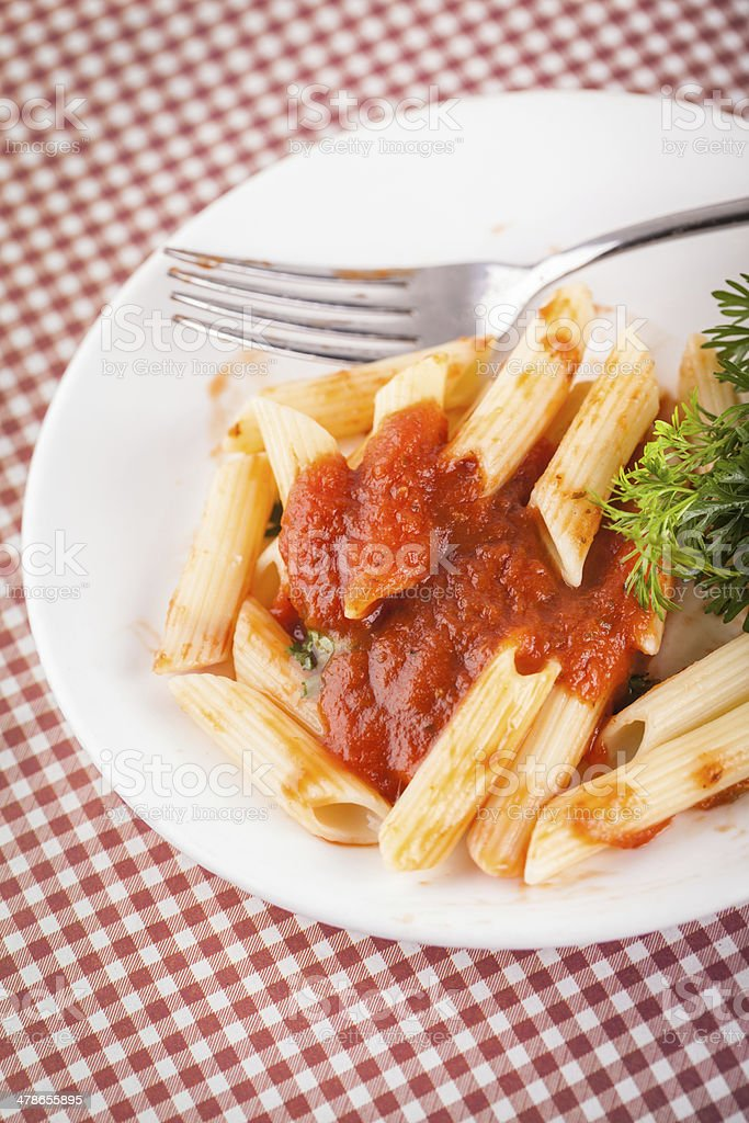 Pasta  with tomato beef sauce royalty-free stock photo
