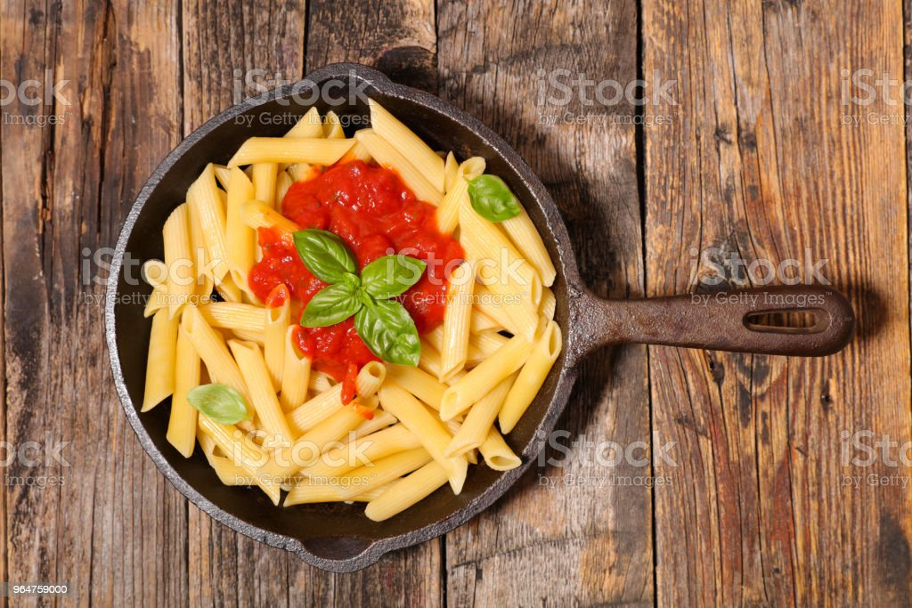 pasta with tomato sauce and basil royalty-free stock photo