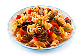 istock Pasta with tomato sauce and grilled beef 1046543604