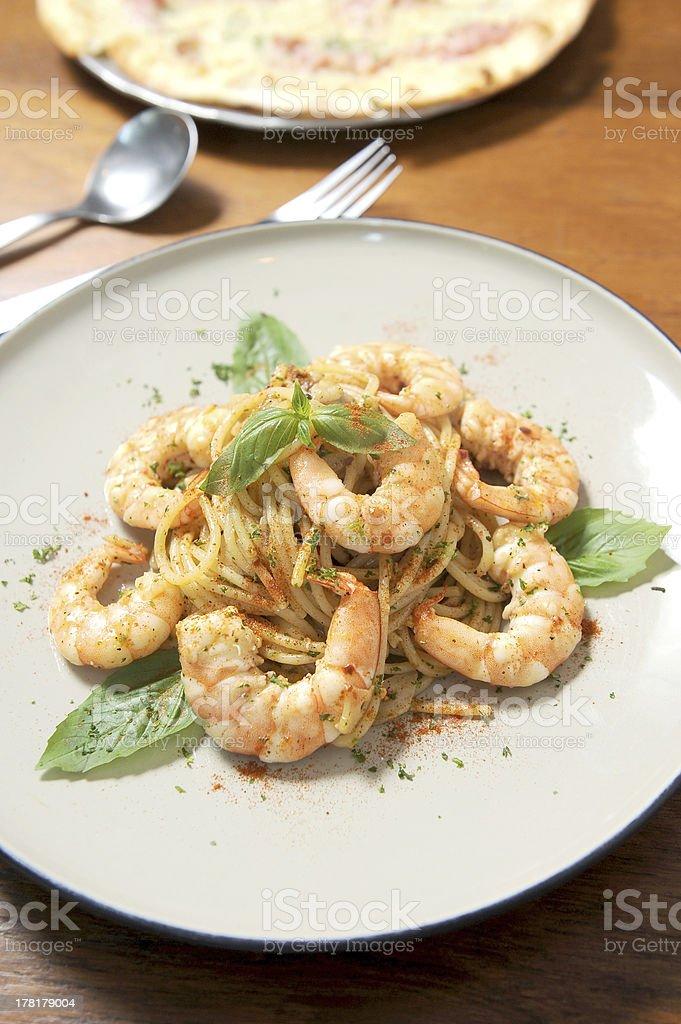 Pasta with tomato sauce, shrimp royalty-free stock photo