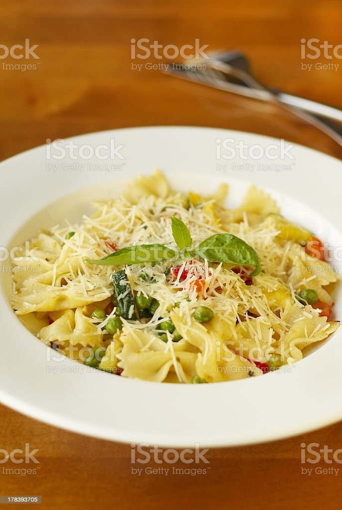 Pasta with vegetables and cheese royalty-free stock photo
