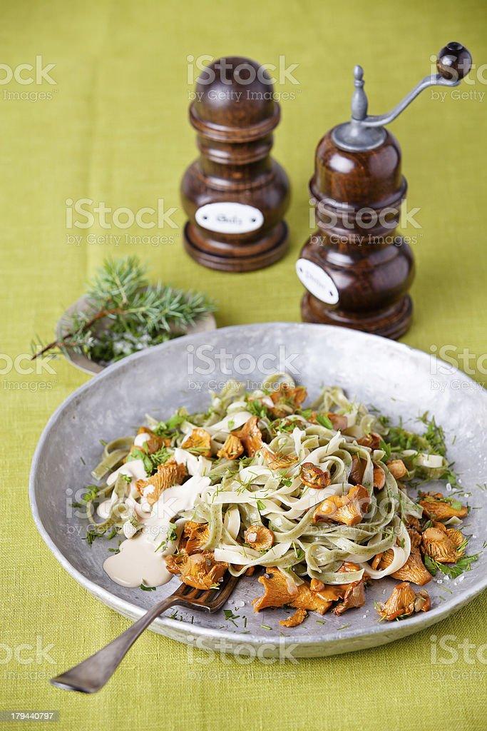 Pasta with wild mushrooms royalty-free stock photo