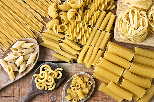 Pasta  with wood background stock photo