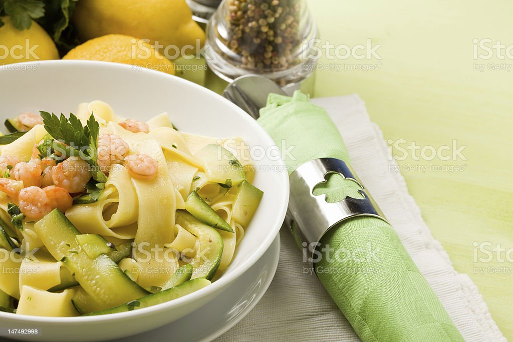 Pasta with Zucchini and Shrimps royalty-free stock photo