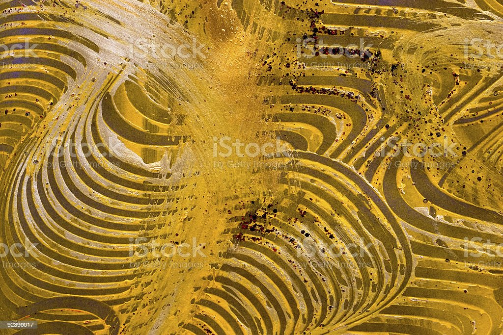 Paste Paper: Yellow and Green Swril royalty-free stock photo