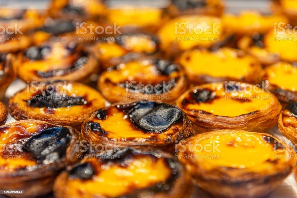 Pasteis de nata, typical portuguese egg tarts stock photo