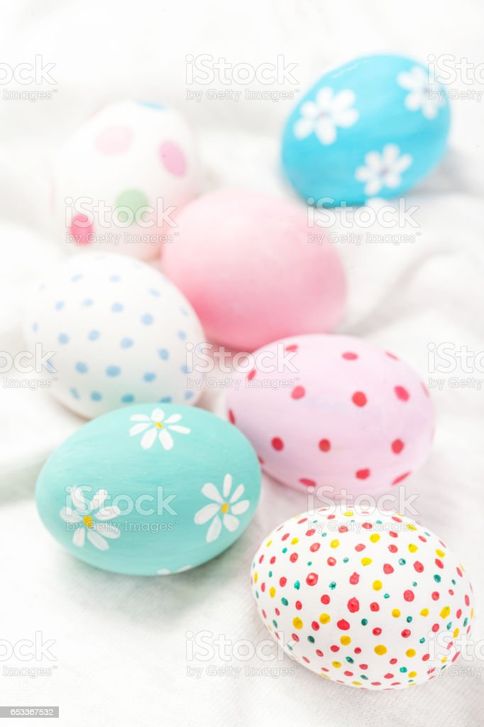 Pastel and colorful easter eggs with copyspace. Happy Easter! stock photo