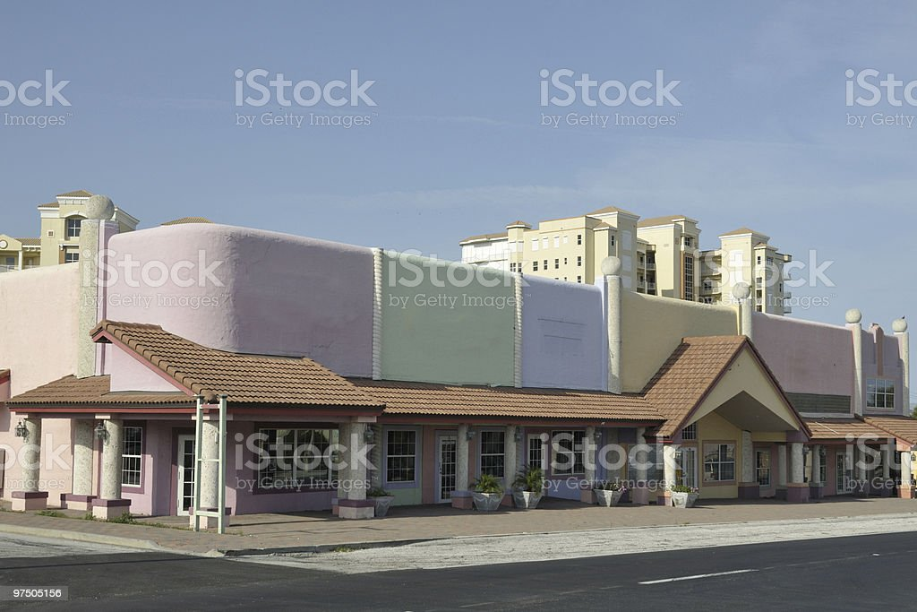 Pastel and terracotta store fronts royalty-free stock photo