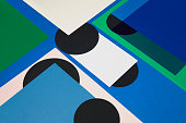Sheets of color papers, and translucent papers for abstract geometric background