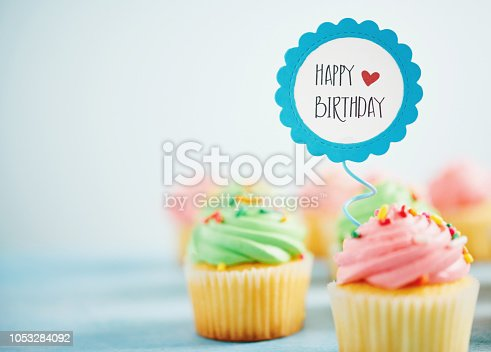 Pastel birthday cupcakes in green and pink with birthday message