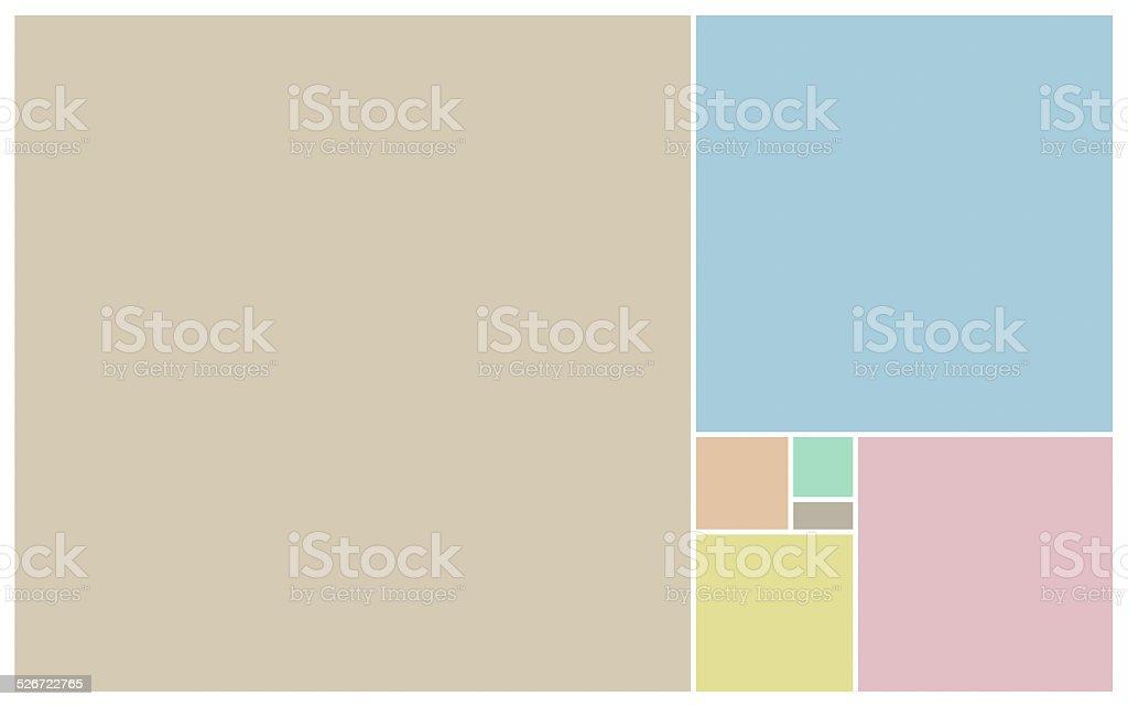 Pastel blocks of colours on white stock photo