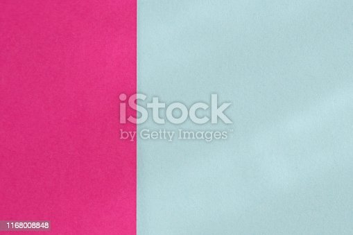Pastel blue and bright purple color paper background. Geometric figures, shapes. Abstract geometric flat composition. Empty space on monochrome cardboard.