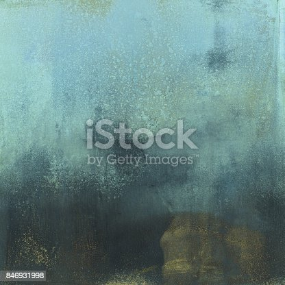 istock Pastel blue and dark gold hand painted background 846931998