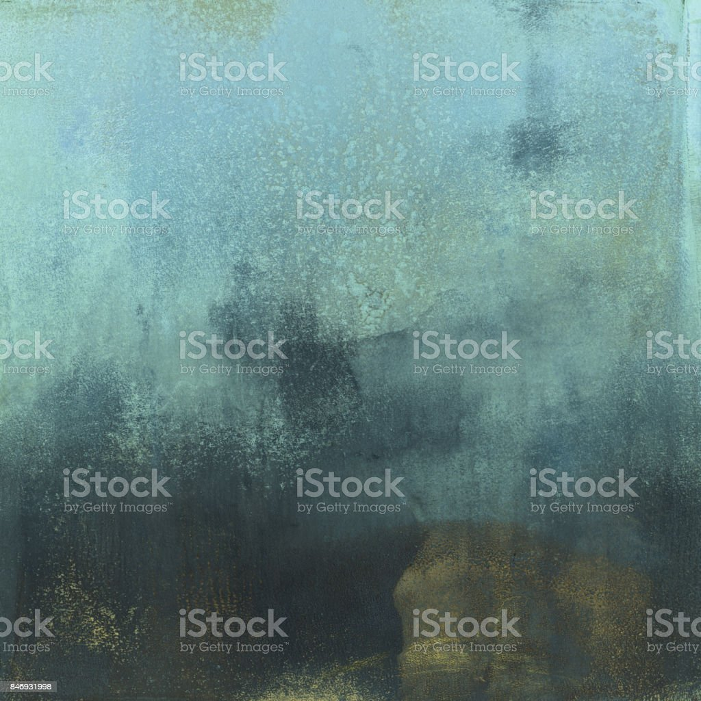 Pastel blue and dark gold hand painted background stock photo