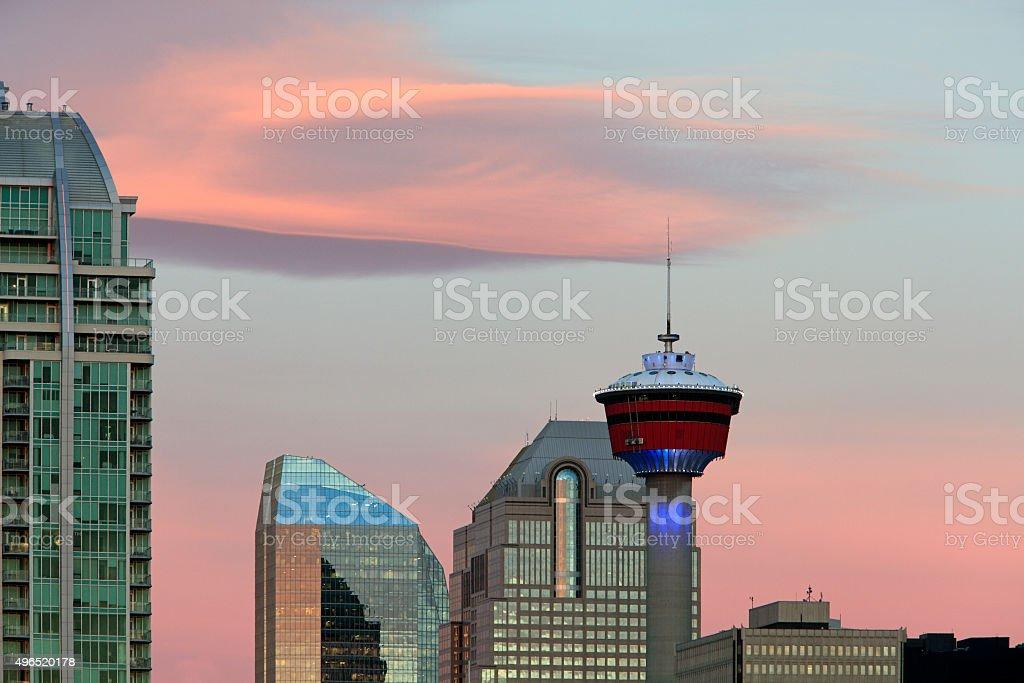 Pastel Calgary Sunrise stock photo