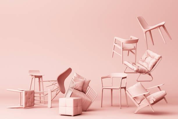 cadeiras pastel no fundo vazio. conceito de minimalismo & arte de instalação. mock da rendição 3d acima - rosa cor - fotografias e filmes do acervo