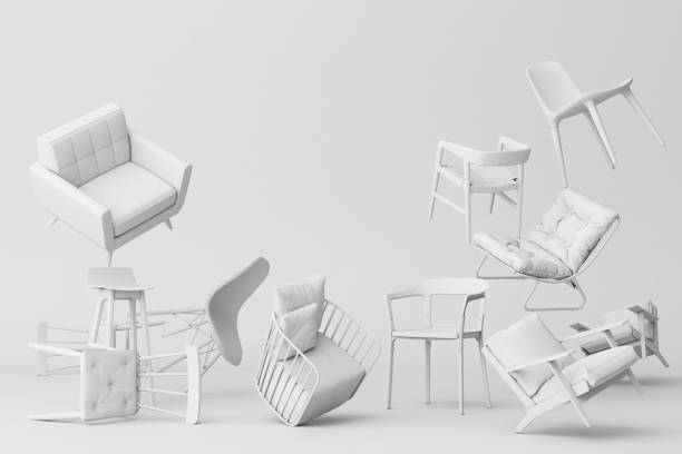 空の背景にパステルチェア。ミニマリズムとインスタレーションアートのコンセプト。3d レンダリングモックアップ - 椅子 家具 ストックフォトと画像