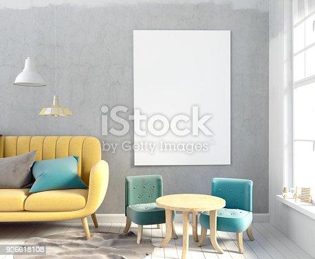 istock Pastel child's room. playroom. modern style. 3d illustration. Poster mock up 926618108