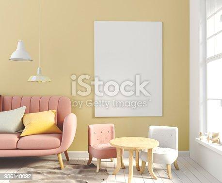 istock Pastel child's room. playroom. modern style. 3d illustration. Posterl mock up 930148092