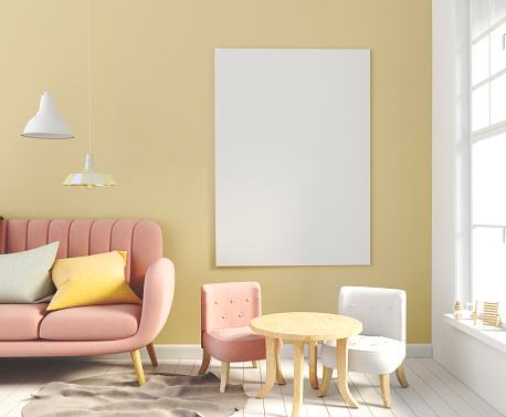 istock Pastel child's room. playroom. modern style. 3d illustration. Posterl mock up 930148092