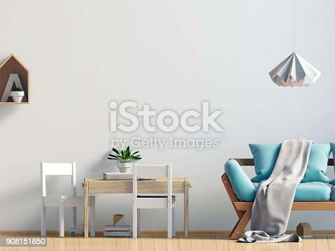 istock Pastel child's room. playroom. modern style. 3d illustration. Wall mock up 908151650