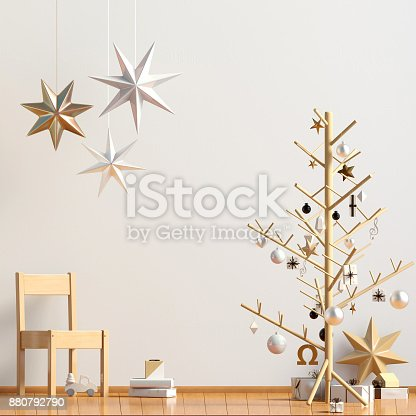 istock Pastel Christmas child's room. playroom. modern style. 3d illustration. Mock up wall 880792790
