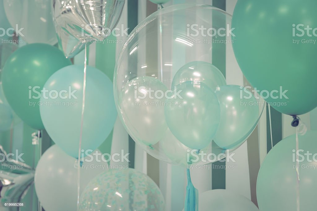 Pastel color balloons for background stock photo