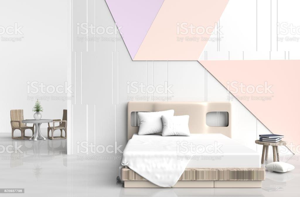 Chambre à Coucher Couleur Pastel Est Sont Décorées Avec Grand Lit, Chaise  En Bois,