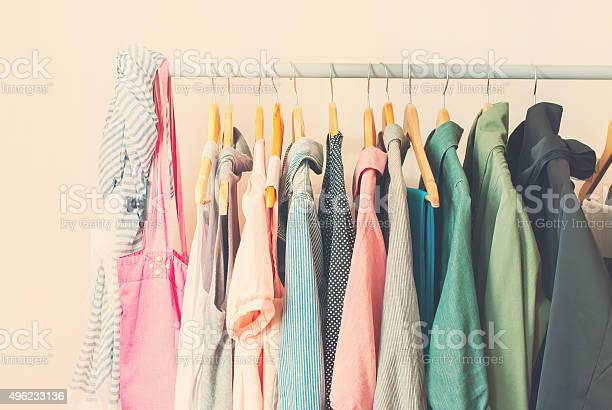Pastel color female clothes in a row on open hanger picture id496233136?b=1&k=6&m=496233136&s=612x612&h=krupybihl0 etchcvy1uc1k mw fbhlnal5anu1tnpc=