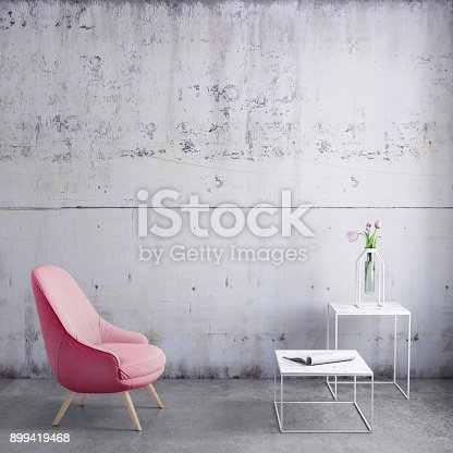 Interior render with pastel armchair and dark blank wall for copy space. coffee table with flowers. background mock up template