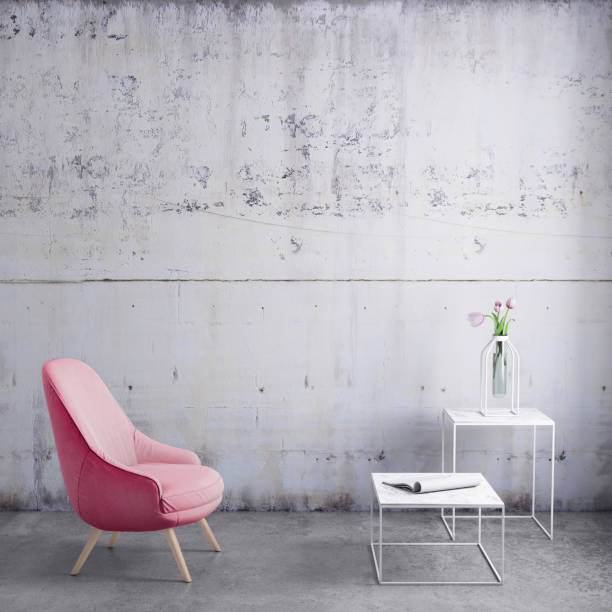 pastell farbigen sessel mit couchtisch, blumen und leeren wandschablone - wohnzimmermöbel holz stock-fotos und bilder
