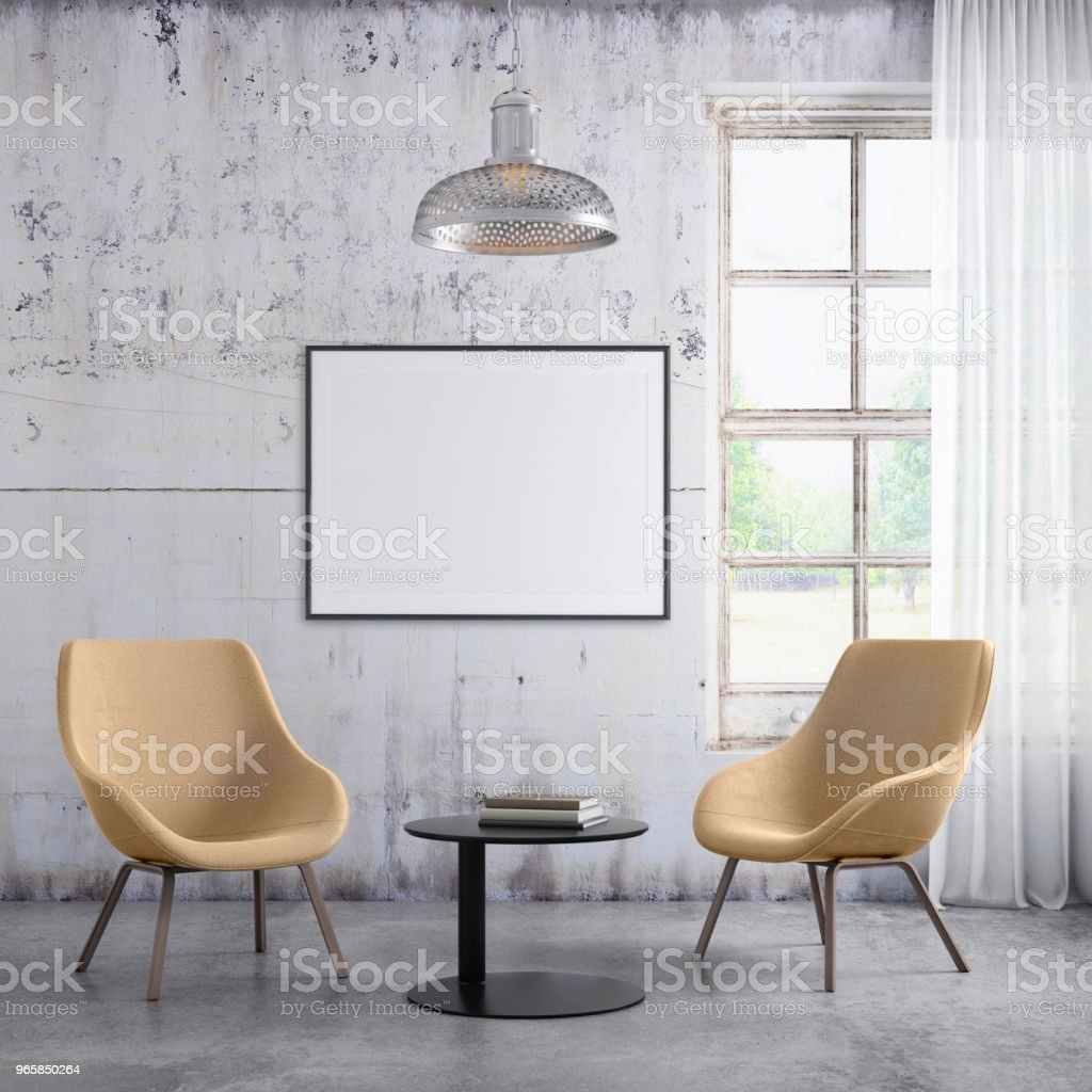 Pastel colored armchairs interior with picture frame template - Royalty-free Aconchegante Foto de stock
