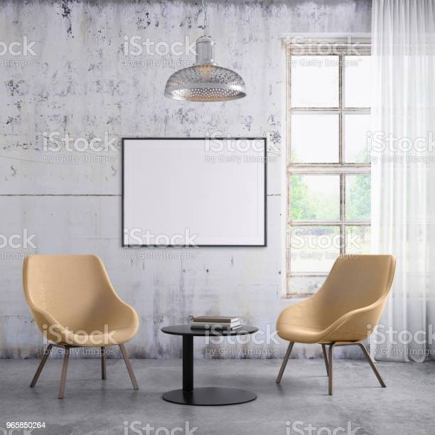 Pastel Colored Armchairs Interior With Picture Frame Template - Fotografias de stock e mais imagens de Aconchegante