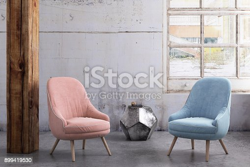 Interior render with pastel armchairs and blank wall for copy space. coffee table and window. background mock up template