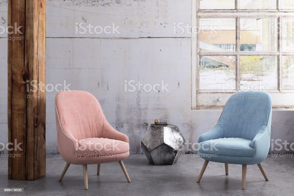 Pastel colored armchairs with coffee table, window and blank wall template stock photo
