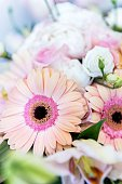 Vertical extreme close-up color image of beautiful pastel colored bridal flowers bouquet - Gerbera Daisy, roses and lily. Elegant floral wedding decoration.